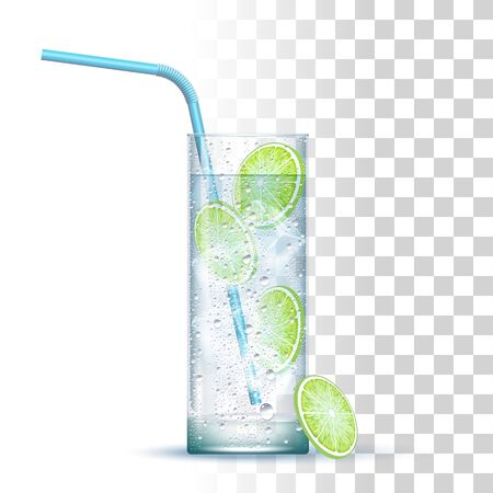 Gin And Tonic Cocktail Served In The Slightly Highball Glass With Blue Straw, Lime And Ice Cubes. Front View. 3d Photo Realistic Vector Illustration Isolated On Transparent Background Vettoriali