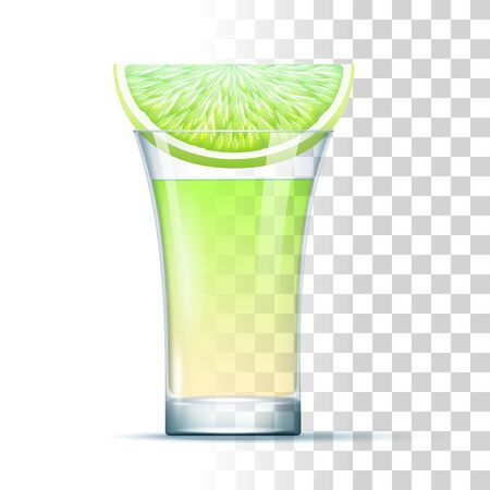 Kamikaze Shot Cocktail Served In The Glass With Lime. Front View. 3d Photo Realistic Vector Illustration Isolated On Transparent Background 免版税图像 - 149666221