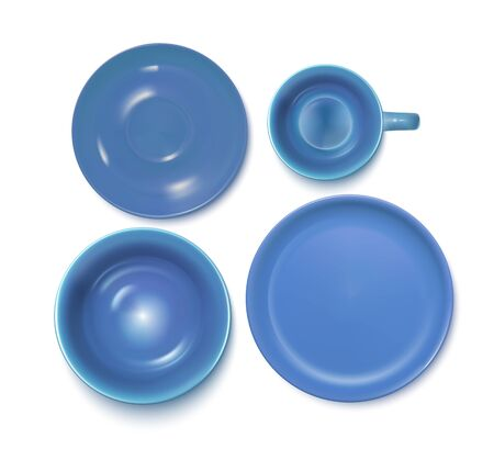 Light Blue Service Set: Plate, Soup-plate, Cup And Soucer. Top View. Vector Photo Realistic Illustration Isolated On White 矢量图像