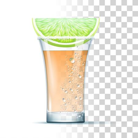 Tequila Shot Cocktail Served In The Slightly Glass With Salt And Lime. Front View. 3d Photo Realistic Vector Illustration Isolated On Transparent Background