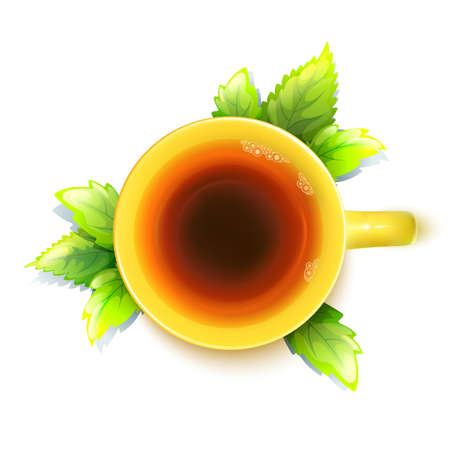 Bright Yellow Herbal Tea Cup With Fresh Green Mint Leaves Isolated On White.