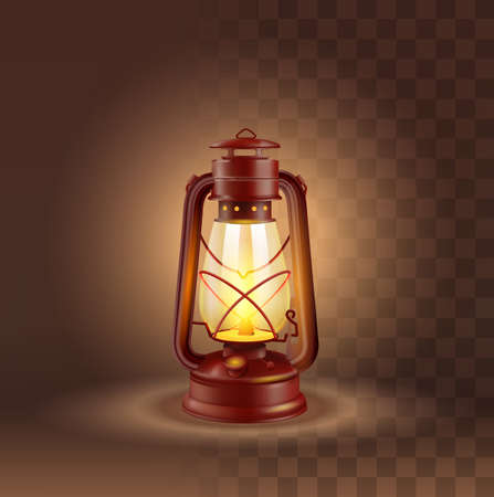 Vector Photo Realistic Camping Lantern With Glow On Dark Transparent Background 矢量图像