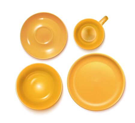 Orange Service Set: Plate, Soup-plate, Cup And Soucer. Top View. Vector Photo Realistic Illustration Isolated On White 矢量图像