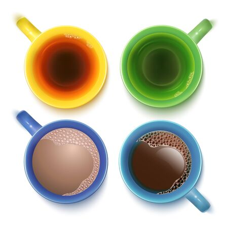 Black Tea, Coffe, Green Tea And Drinking Chokolate Cups Isolated On White. Top View. Vector Photo Realistic Illustration