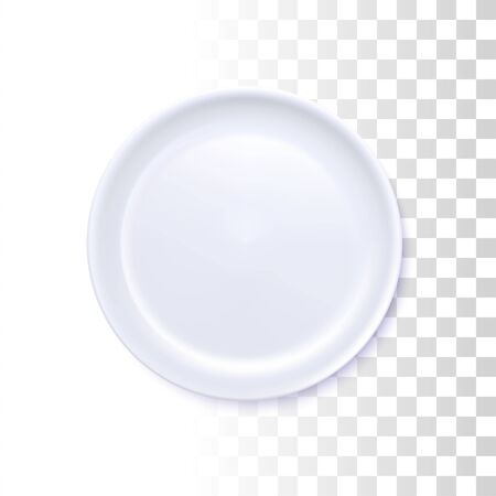 White Round Plate On Transparent Background. Top View. Vector Photo Realistic Illustration