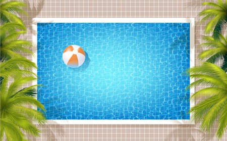 Summer Pool Background With Blue Water, Green Coconut Palms And Beach Ball. 矢量图像