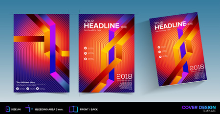 Abstract Graphic Book Cover Design with Bleed Area in Vector Ready for Printing