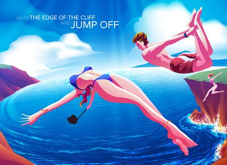 An imagery illustration of a couple jumping off the cliff down to the ocean in a beautiful day in summer. Illustration