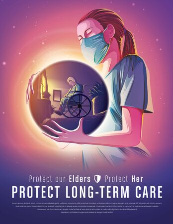 Vector illustration of medical health care nurse concept providing long term care and wellness to elderly vulnerable and disabled people Vettoriali