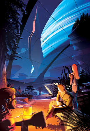 Futuristic vector illustration featuring mankind in the future are enjoying the campfire inside the massive habitat on another planet somewhere in the universe. 矢量图像