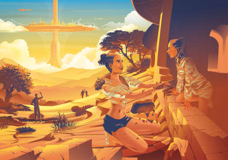 Futuristic vector illustration featuring the far future era of the family helping each other to build the earth house that has the flying futuristic city in the background.