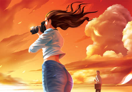 Vector illustration of the lady photographer is taking a photo of the beautiful sunset and the farther man is stealing her glance
