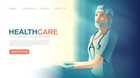 landing page template in vector illustration of healthcare service featuring the smiling tireless healthcare worker taking rest aside from the window