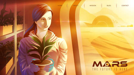 Vector illustration featuring a female Asian scientist is smiling and working in the plantation center on mars