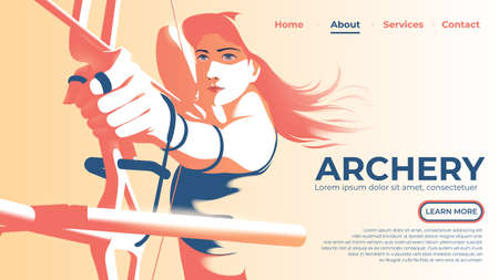 Vector illustration for UI or a landing page of the female archer is pulling the bow and ready to shoot with determination eyes.
