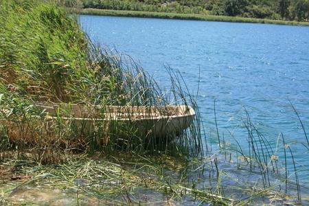 shallop: sloop in Bacinska lake in Croatia Stock Photo