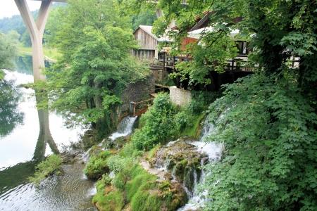 waterfall in Rastoke near Slunj in Croatia