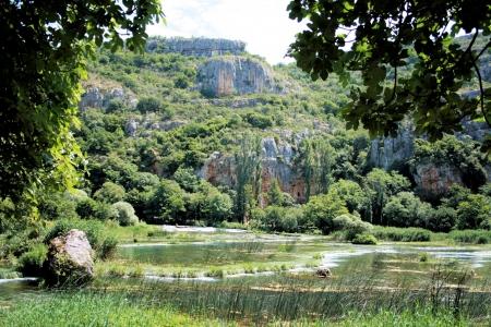 KRKA river near Roski slap in Croatia photo