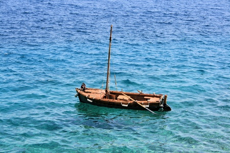 small fisching boat in Croatia Stock Photo