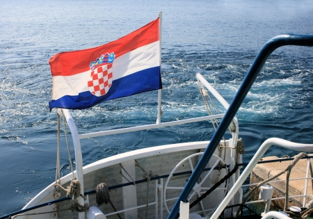 croatian: Croatian flag wile sailing
