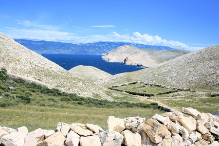 hiking in Baska, Croatia, View on the island Prvic,  photo