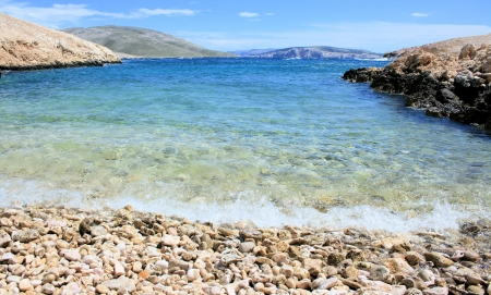 hiking in Baska, Croatia, View on the island Prvic photo