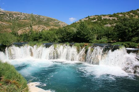 waterfall on Zrmanja river near Muskovici, Croatia photo