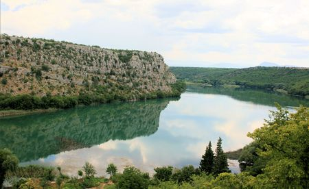 Krka, lake near Manojlovac waterfall, Croatia photo