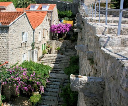starirs of roman wall in Ston, Croatia photo