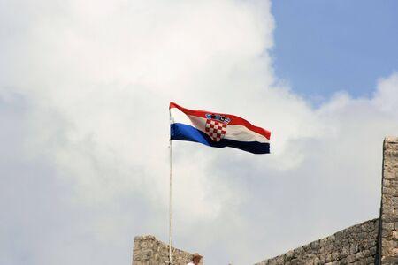 croatian: Croatian flag in Ston, Croatia