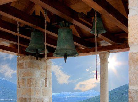 bels in tower in Ston, Croatia photo