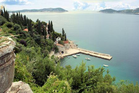 shallop: view over the sea in Trsteno Arboretum, Trsteno, Croatia Stock Photo