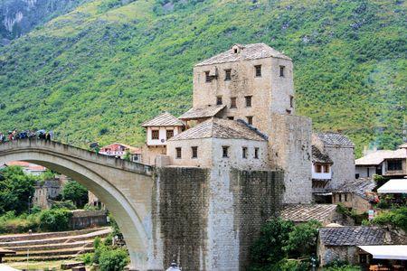 mostar: bridge in Mostar, Bosnia and Herzegovina Stock Photo