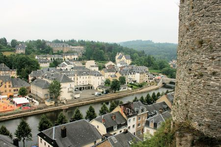 feudalism: view on Semois river from castle fortress of Bouillon, Belgium Editorial