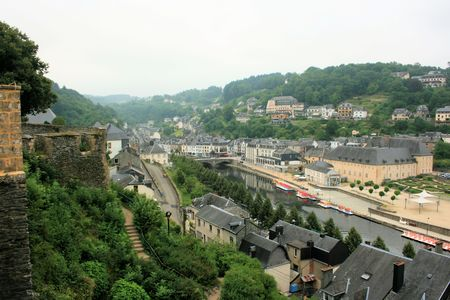 view on Semois river from castle fortress of Bouillon, Belgium Editorial