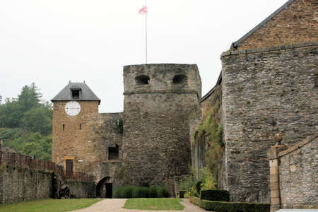 feudalism: view inside the walls of castle fortress of  Bouillon, Belgium Editorial