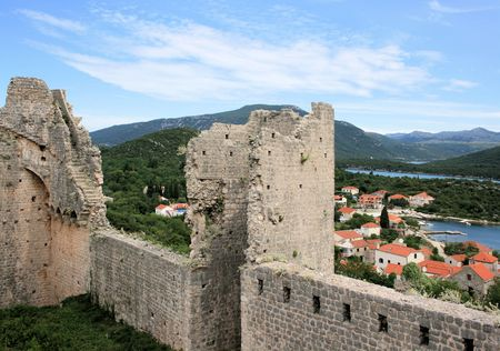 tower of fortress in Ston, Croatia photo