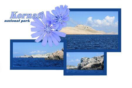 combi: design for postcard of Kornati, Croatia, with text