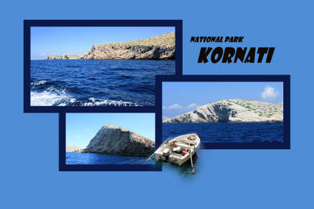 design for postcard, Kornati, Croatia, with text