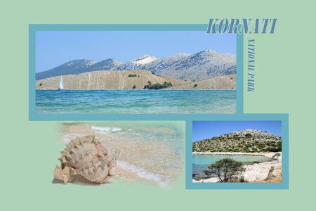 design for postcard, Kornati, Croatia, with text photo
