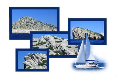 panoramic beach: design for postcard, Kornati, Croatia