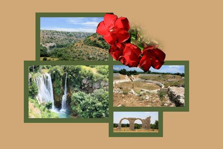 combi: Design for postcard, Manojlovac waterfall, Krka, Croatia
