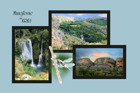 Design for postcard, Manojlovac waterfall, Krka, Croatia, with text photo