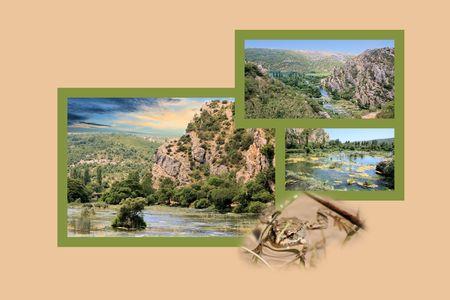 Design for postcard, Roski slap, Krka, Croatia photo