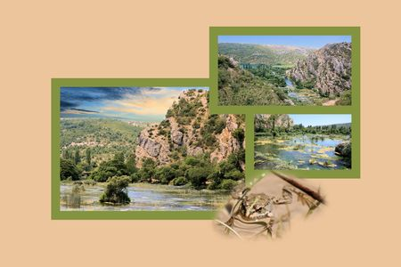 slap: Design for postcard, Roski slap, Krka, Croatia Stock Photo