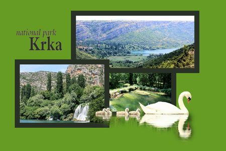 slap: Design for postcard, Roski slap, Krka, Croatia, with text Stock Photo