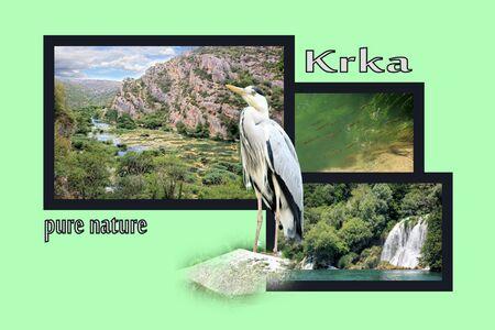 Design for postcard, Roski slap, Krka, Croatia, with text photo