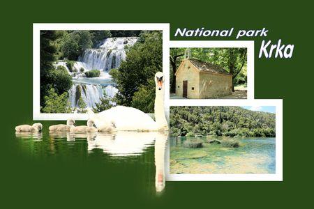 combi: Design for postcard, Skradinski buk, Krka, Croatia, with text