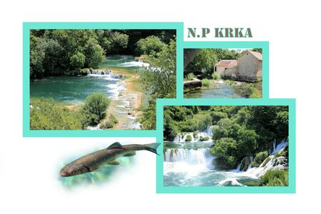 Design for postcard, Skradinski buk, Krka, Croatia, with text photo