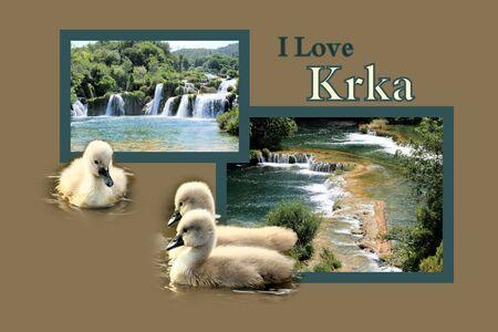 Design for postcard, Skradinski buk, Krka, Croatia, with text photo